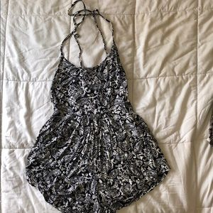 Billabong Tie Backless Romper with Front Pockets